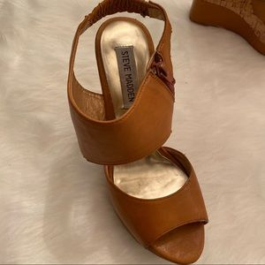 Steve Madden Brown Cork Strap Wedges Size 8
